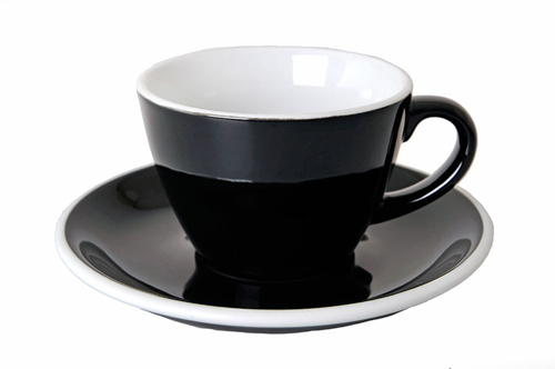 Acme Black Flat White  Cup & Saucer Set of 6