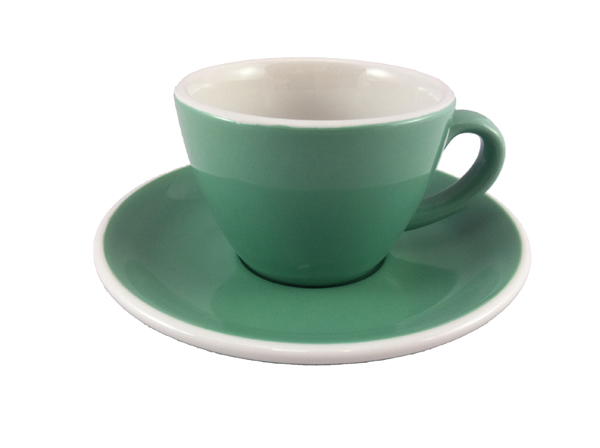 Acme Green Flat White Cup & Saucer Set of 6
