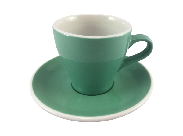 Acme Green Long Black Cup & Saucer Set of 6