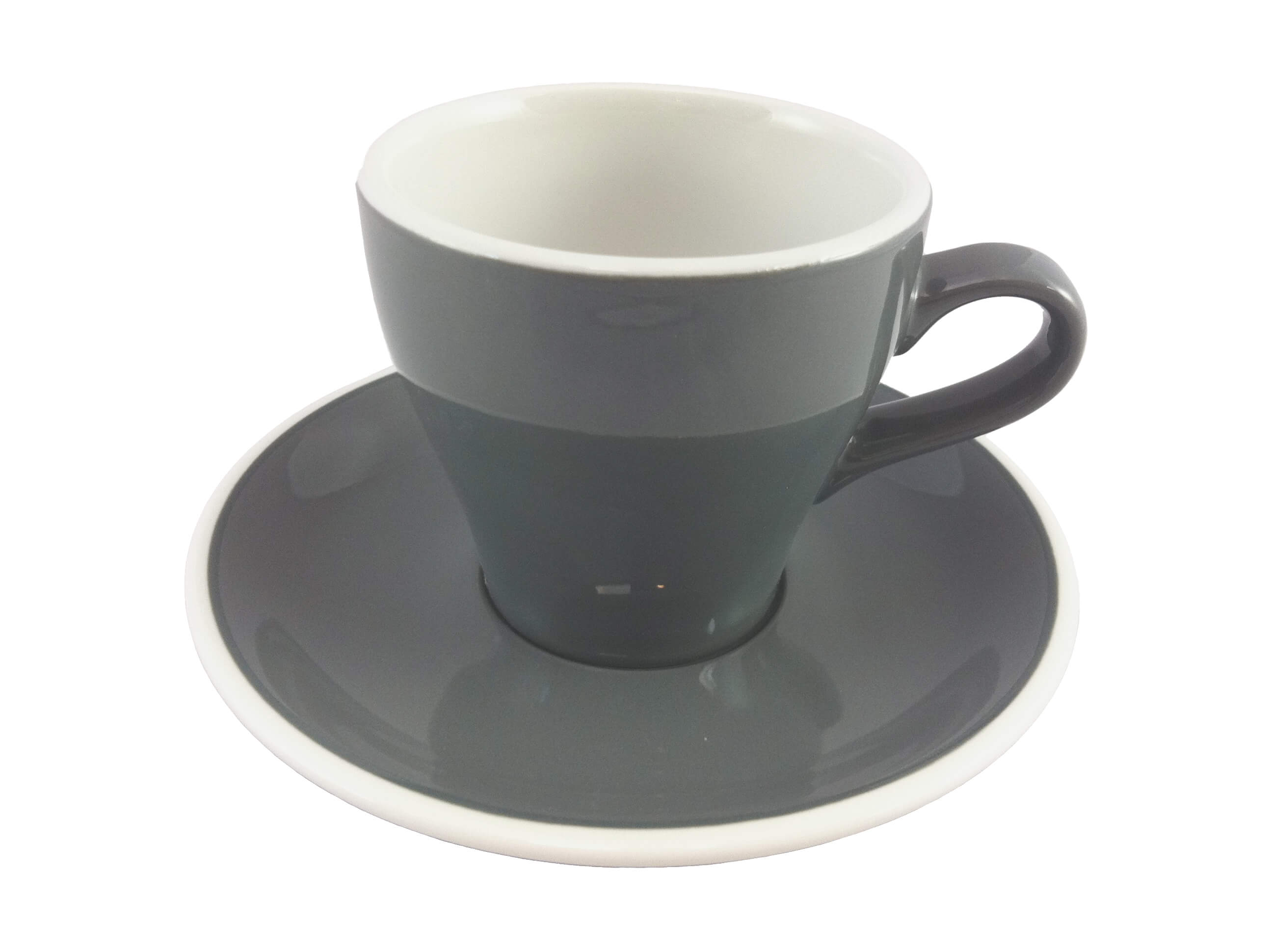 Acme  Grey Long Black Cup & Saucer Set of 6