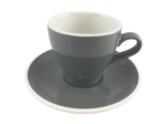Acme  Grey Long Black Cup & Saucer